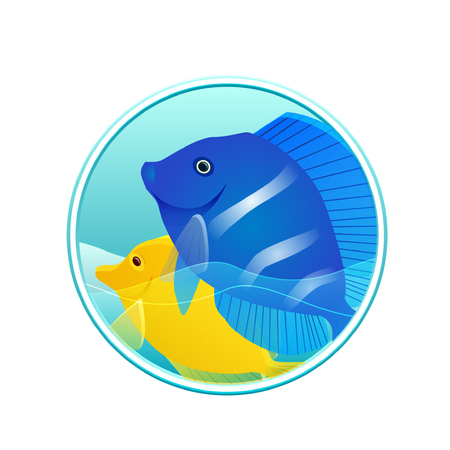salmon leaping: Vector illustration of sea fish and sea in the circle for logos, icons, design elements for your creativity