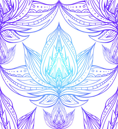 centers: Seamless texture with the contours of the lotus with Boho pattern. Vector element for spa centers, yoga studios. Hand drawn. Doodle elements for your design Illustration