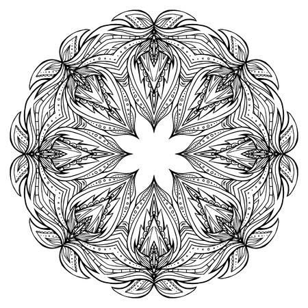 redondo de color negro y blanco con el patrón de mandala boho. elemento del vector para las invitaciones, álbum de recortes, impresiones de camisetas para su creatividad