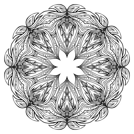 Round black and white mandala with boho pattern. Vector element for invitations, scrapbooking, prints for t-shirts for your creativity