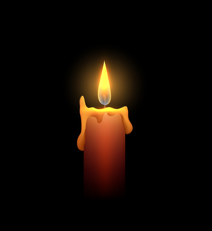 candle wick: Burning candle in the dark. Vector element for your creativity
