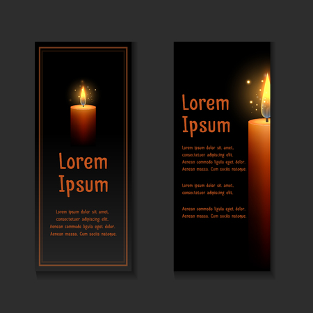 Template letters of condolence with burning candle in the dark