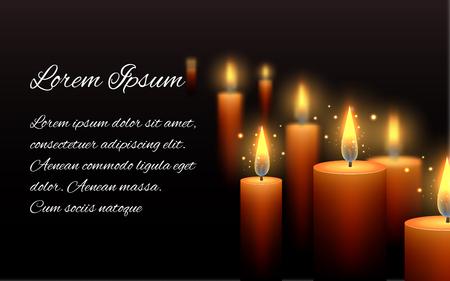 Szablon List kondolencyjny z płonącą świecę w ciemności