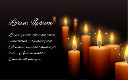 condolence: Template letter of condolence with burning candle in the dark
