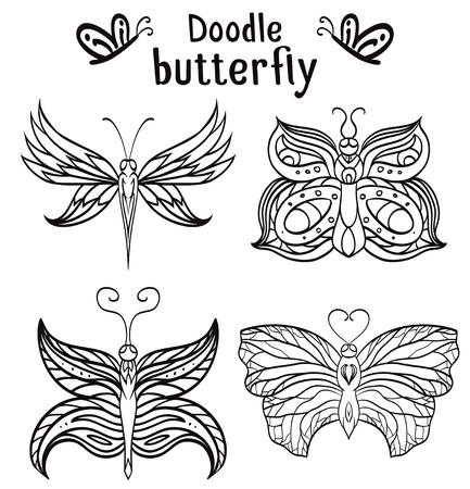 butterflies for decorations: Set of hand drawn butterfly with boho pattern. Tribal doodle elements. Vector element for your creativity.