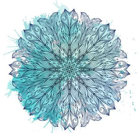 etnic: Circular pattern of hand drawn boho pattern with watercolor splashes. Tribal doodle background. Illustration
