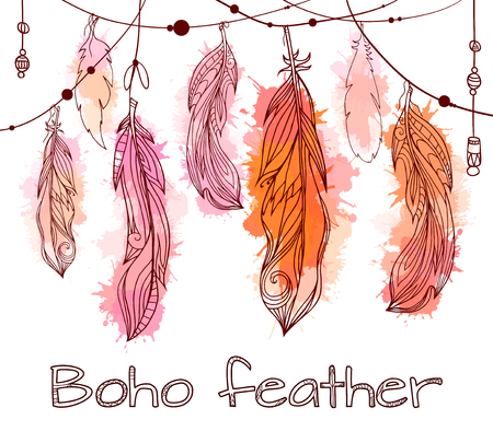 Card with hanging  feathers  with boho pattern and watercolor splashes. Tribal doodle background. element for your creativity.