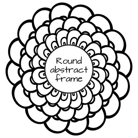 escamas de peces: redondo de color negro y marco blanco con escamas de pescado y el lugar de texto. elemento para el sitio, imprimir en la camiseta y su dise�o