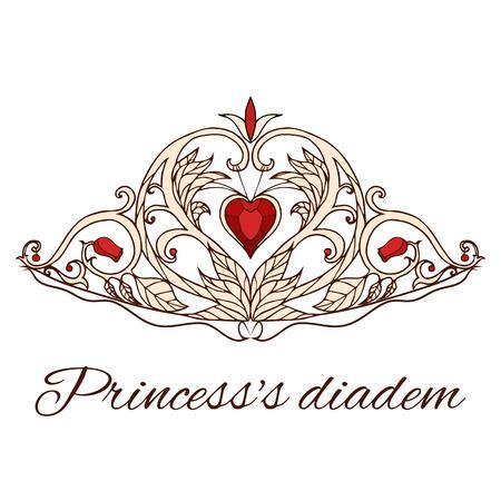 principessa tiara. Regina Corona. Elementi Doodle per la progettazione.