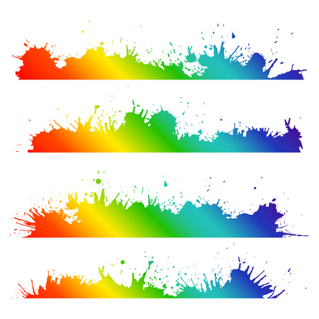 grunge border: Grunge border with rainbow splashes and drops to design tracks, composition, and your creativity