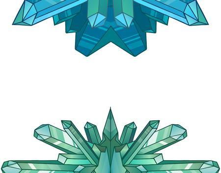 minerals: Design elements of cartoon crystals and minerals. elements for design of games, menu cards and your design