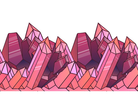 gemstone: Seamless border with cartoon pink crystals. element for design , websites, postcards, and your design