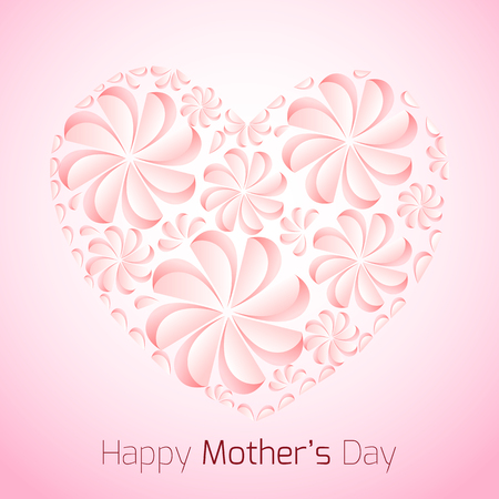 delicate: Delicate card for Mothers Day with paper flowers and congratulations.