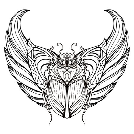 ankh: Hand drawn vintage scarab with wings. Insect with doodle pattern. Vector element for tattoo sketch, printing on T-shirts, postcards and your design