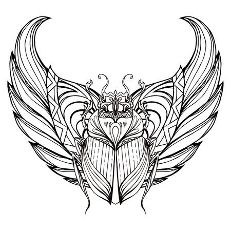 Hand gezeichnet Jahrgang Skarabäus mit Flügeln. Insekt mit doodle Muster. Vector Element für Tattoo-Skizze, Druck auf T-Shirts, Postkarten und Ihr Design