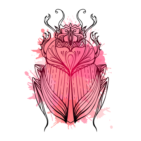 scarab: Hand drawn vintage scarab with red watercolor splashes. Insect with doodle pattern. Vector element for tattoo sketch, printing on T-shirts, postcards and your design
