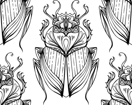 scarab: Seamless black and white pattern with hand drawn tribal scarab. Vector background with doodle pattern for your design Illustration