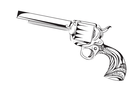Hand drawn revolver with boho pattern. vintage element for tattoo design printed on a T-shirt, postcards and your creativity