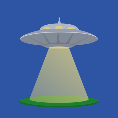 abduct: flat  illustration of a flying saucer aliens with light