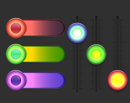 calibrate: Set of glowing colorful sliders. Vector element for web sites, banners and your design