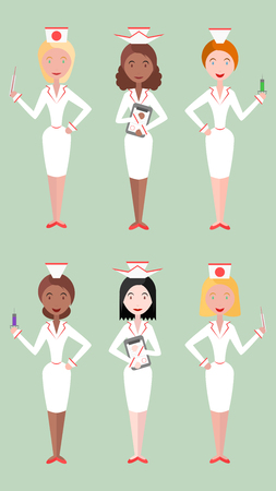nationalities: Set flat illustrations nurse women of different nationalities. Vector element for your design and infographics