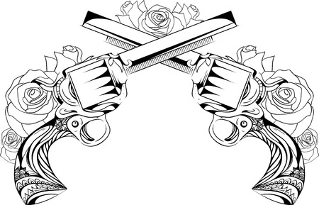 Vector vintage illustration of two revolvers with roses. Duel. Design tattoos, postcards.
