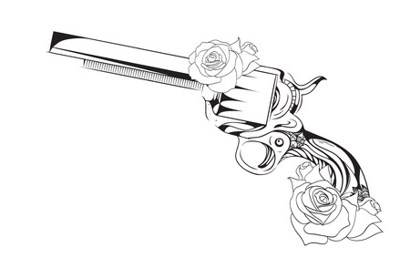 antique pistols: Vector vintage illustration of  revolver with roses.  Vector vintage element for tattoo design printed on a T-shirt, postcards and your creativity