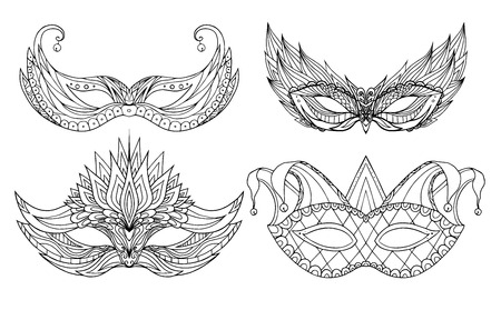 masquerade masks: Set of hand-drawn doodle face holiday masks. Festival Mardi Gras, masquerade.