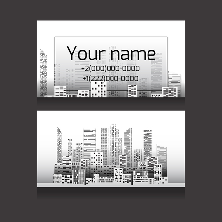 listings: Template two-sided business card with skyscrapers and place for text. Business card for realtors, architects, builders Illustration