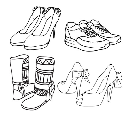 women's shoes: Set of various doodle outlines of womens shoes. Vector element for your creativity
