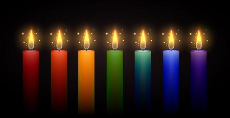 Set di candele arcobaleno. Elemento di vettore. Masterizzazione di candela. Arcobaleno