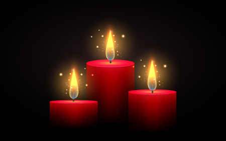 Set of red candles of different lengths. Vector element. Burning candle. Ilustração