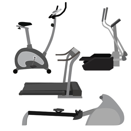 stepper: Set of flat illustration sports simulators. Vector elements for infographics. Sport training apparatus
