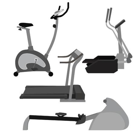 Set of flat illustration sports simulators. Vector elements for infographics. Sport training apparatus