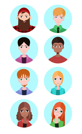 sexes: Set of vector flat icons of people of different sexes and races. Vector elements for infographics, avatars and your design Illustration
