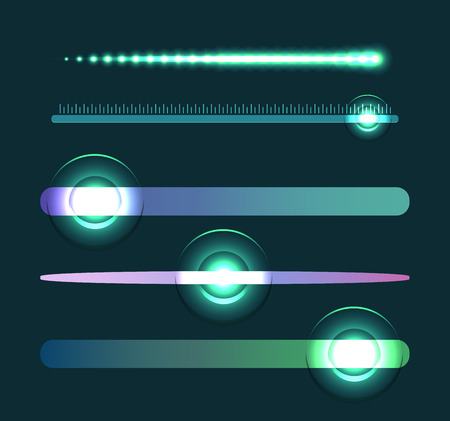 Set of glowing sliders. Set of sliders with loading. Vector element for web sites, banners and your design