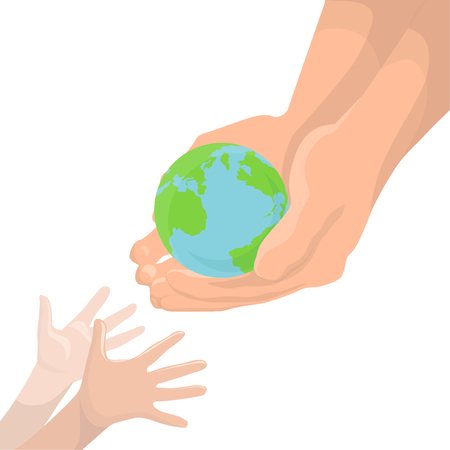 protect earth: Vector illustration of an adult hand, transmitting the planet Earth in childrens hands. Protect Earth. Ecology