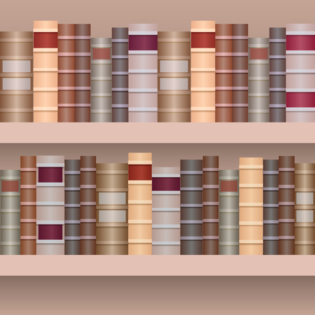 Nahtlose Grenze von Regal mit alten books.Realistic Bücher in der Reihe getrennt vom Hintergrund