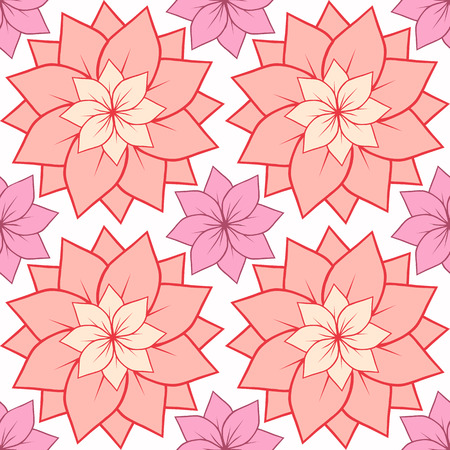 centers: Seamless texture with pink lotus flowers. Vector background for spa centers, yoga studios, postcards and your design Illustration