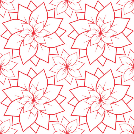 centers: Seamless texture with outline of pink lotus flowers. Vector background for spa centers, yoga studios, postcards and your design Illustration