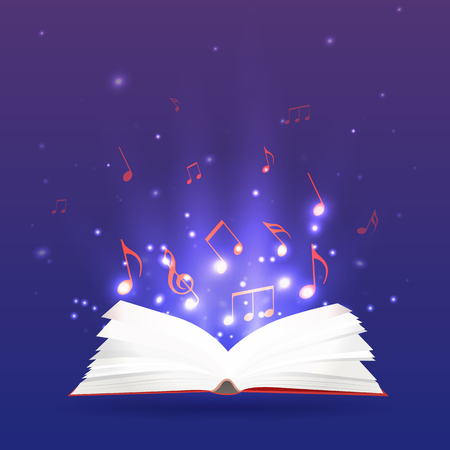 open notebook: Vector illustration of an open book with rays and musical notes. Music notebook, study and education. Illustration