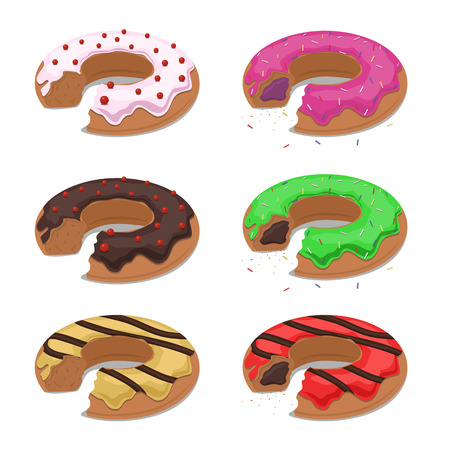 frosting: Set of different vector bitten donuts with frosting and sprinkles. Flat illustration.