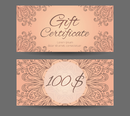 Template gift certificate for yoga studio, spa center, massage parlor, beauty salon. Abstract pattern mandala Illustration