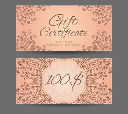 oriental medicine: Template gift certificate for yoga studio, spa center, massage parlor, beauty salon. Abstract pattern mandala Illustration