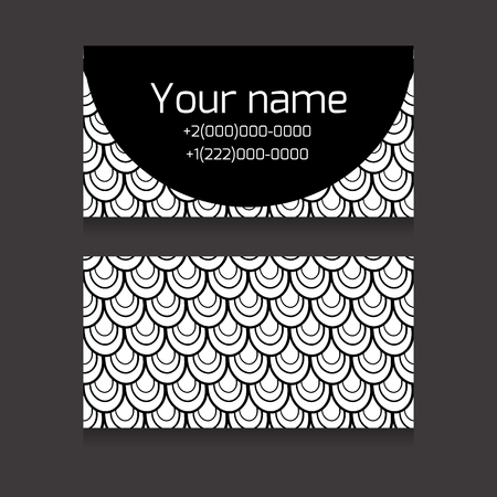 fish scale: Set of black and white double-sided business card with space for your text with fish scale for your business