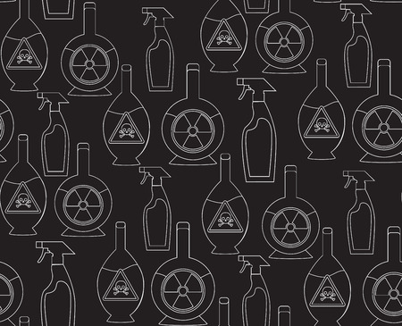 poisonous substances: Seamless pattern with outline toxic chemicals in the bottles for your design