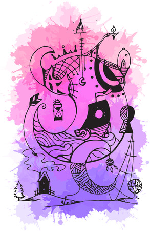 keeper: Greeting card with abstract ink drawing on the theme of the dream, the keeper of dreams with watercolor background for your creativity