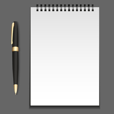jotter: notepad template on springs with a pen. element for your creativity