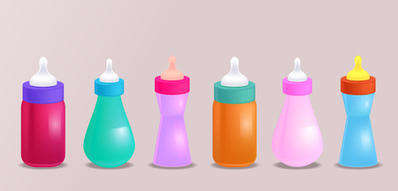 teteros: Set of realistic illustration of baby bottles for your creativity