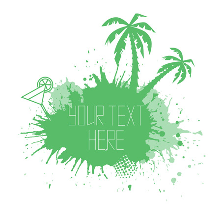 grunge tree: Summer banner with watercolor splashes palm trees and space for text. element for your design